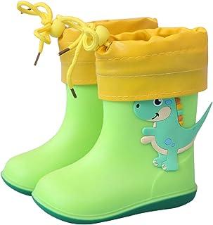 أحذية المطر للأطفال جزمة مطاطية بطباعة الديناصورات أحذية مقاومة للماء أحذية قابلة للإزالة وبطانة قطنية