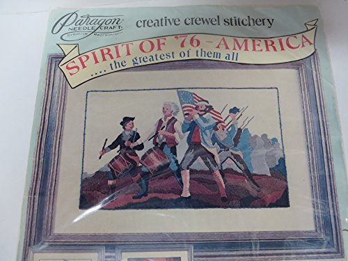 VINTAGE (1973) CREATIVE CREWEL STITCHERY, SPIRIT OF '76- AMERICA.THE GREATEST OF THEM ALL, THE MINUTE MEN'' PICTURE # 0906