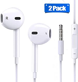 2 Pack Earphones/Earbuds/Headphones/Headsets to 3.5mm with Stereo Mic&Remote Control Compatible with Phone 6s/6plus/6/5s/se/5c/IPad/IPod Galaxy More Android Smartphones