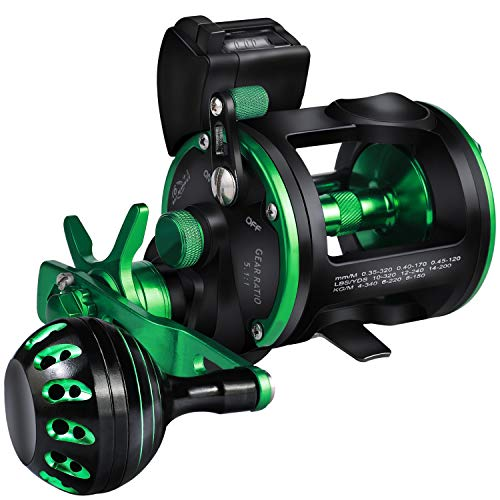 Sougayilang Line Counter Trolling Fishing Reel,Conventional Level Wind Trolling Reel, Graphite Body, Durable Stainless-Steel and Brass Gears, Large Line Capacity, Powerful Carbon Disc Drag-RZC20L