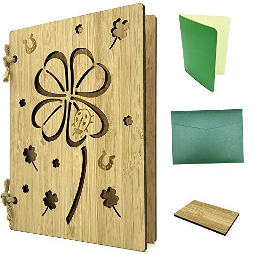 Grußkarte aus Holz als Glückwunschkarte & Gutscheinkarte - Bambuskarte mit Kleeblatt ca. A6 Format - Set mit Einlagepapier, Briefumschlag & Probestück