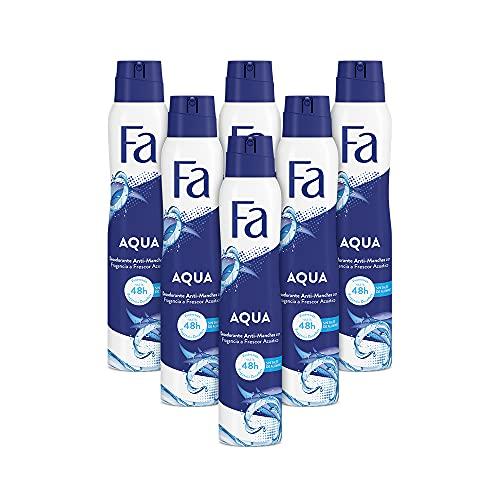 Fa - Desodorante Spray Aqua - 200ml (pack de 6) Total: 1200ml