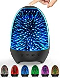 Aiscool Night Light Bluetooth Speaker 3D Glass Bedside Table Lamp Color LED Night Lamp Touch Control Rechargeable Portable (Galaxy-Black)