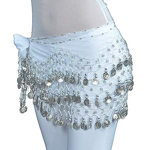 Belly Dance Hip Scarf Wrap Belt Tribal Sash Skirt Silver 128 esquinas Precio reducido cinturón para San Patricio y Pascua