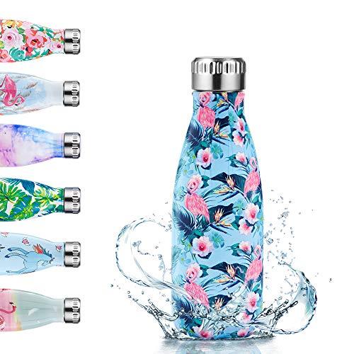 Enlifety Edelstahl Trinkflasche - 350ml Vakuum Trinkflasche - Isolierflasche Wasserflasche BPA-Frei Auslaufsicher - Thermosflasche für Kinder, Sport, Schule, Fitness, Fahrrad, Camping - Flamingo Blau