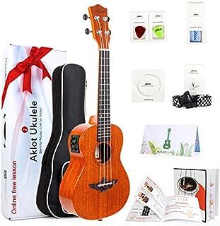 "AKLOT Electric Acoustic Concert Ukulele Solid Mahogany Ukelele 23"" Beginners Starter Kit with Free Online Courses and Ukulele Accessories, Electric 23"