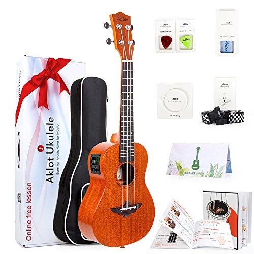 AKLOT Electric Acoustic Soprano Ukulele Solid Mahogany Ukelele 21 inch Beginners Starter Kit with Free Online...