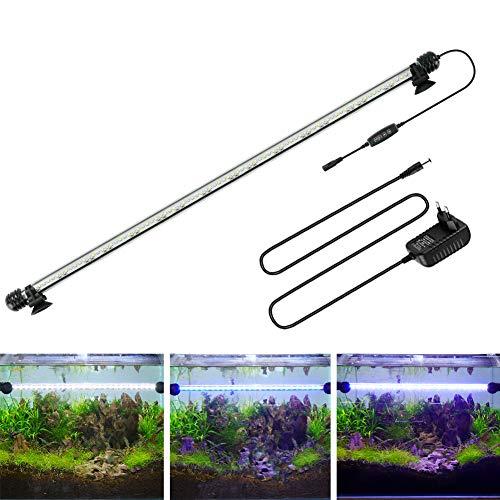 BELLALICHT LED Aquarium Beleuchtungs-Timer - Röhrenlampe Aquarium Blau-Weißes Licht mit eingebautem Dimmer, dimmbar 10 Helligkeitsstufen IP67 Wasserdicht für Wassersportler