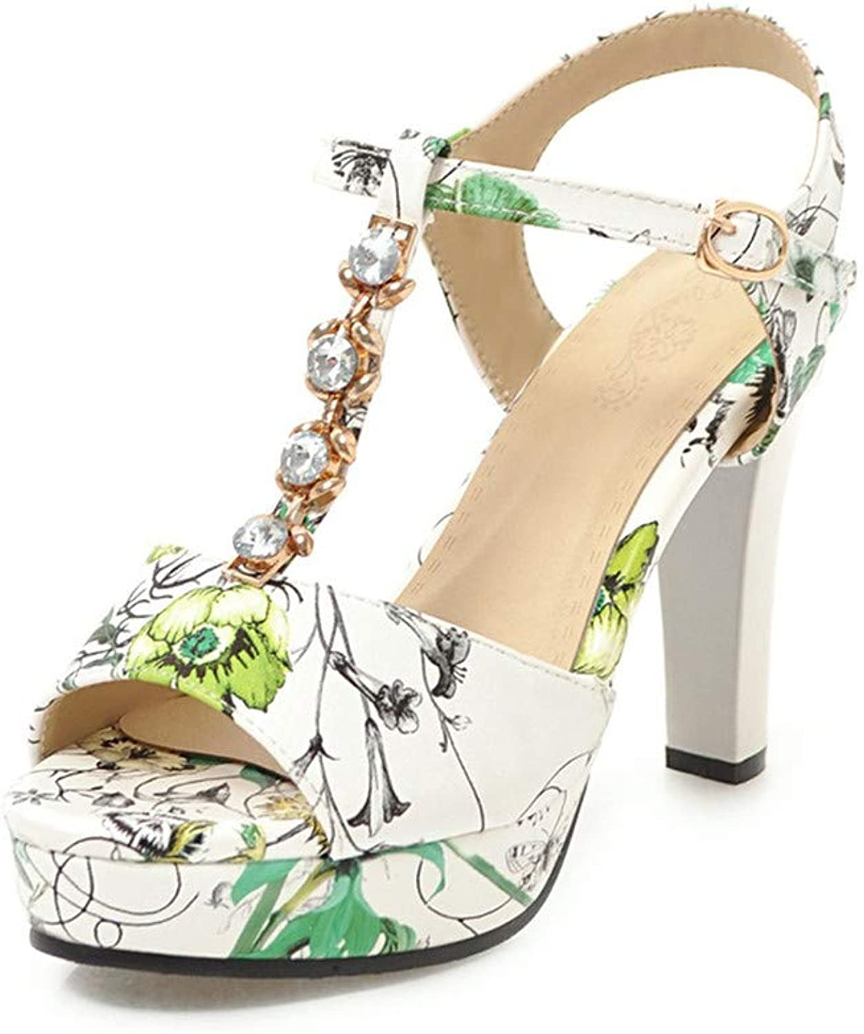 GAO-GEN1 Big Size 33-43 Flowers Printing T-Strap Women Sandals shoes Party Sandal Woman