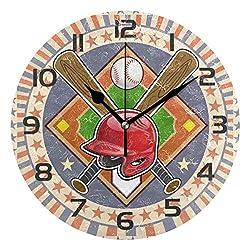 Dozili Retro Baseball Sport Ball Decorative Wooden Round Wall Clock Arabic Numerals Design Non Ticking Wall Clock Large for Bedrooms, Living Room, Bathroom