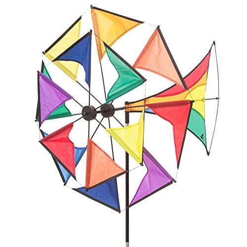 HQ Windspiration 10094630 - Windmill Illusion Rainbow, UV-beständiges und wetterfestes Windspiel - Höhe: 130 cm, Tiefe: 70 cm, Ø: 70 cm, inkl. Standstab und Bodenanker