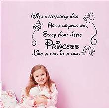 Wwwff letras de la etiqueta engomada de la pared con el beso de la mariposa Habitación de los niños Art Deco extraíble 45 * 60 cm
