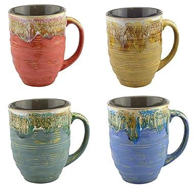Mug Large Coffee Mugs 20 Ounce - Unique Glazed Ceramic Coffee and Tea Cups (Set of 4) - coffee breaks tea cup