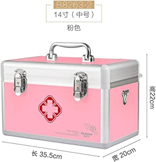 XZHMYYH Medicine box Medium and small number of multi-layer aluminum lockable medicine cabinet waterproof home medicine chest (Color : 14 inchPink)