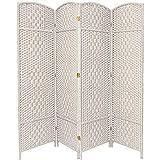 Oriental Furniture 6 ft. Tall Diamond Weave Fiber Room Divider - White - 4 Panel