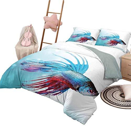 Cartoon Duvet Cover SetAquarium,Siamese Fighting Betta Fish Swimming in Aquarium Aggressive Sea Animal,Sky Blue Dark Coral Decorative 3 Piece Bedding Set 79 x 90 inch