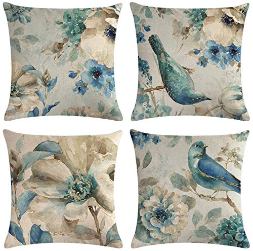 SCVBLJS Blue Flower Bird Linen Cushion Covers Set Of 4 Pillowcase Throw Pillow Covers Sofa Couch Decor Pillow Covers 45 X 45 Cm