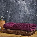 Wakefit Terry 100% Cotton 2 Piece Bath Towel Set, 500 GSM (Cafe Noir and Grape Wine)
