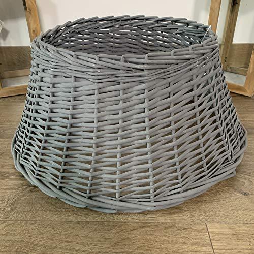 Samuel ALEXANDER 40/60cm Medium Deluxe Wicker Willow Christmas Tree Skirt - Dark Grey
