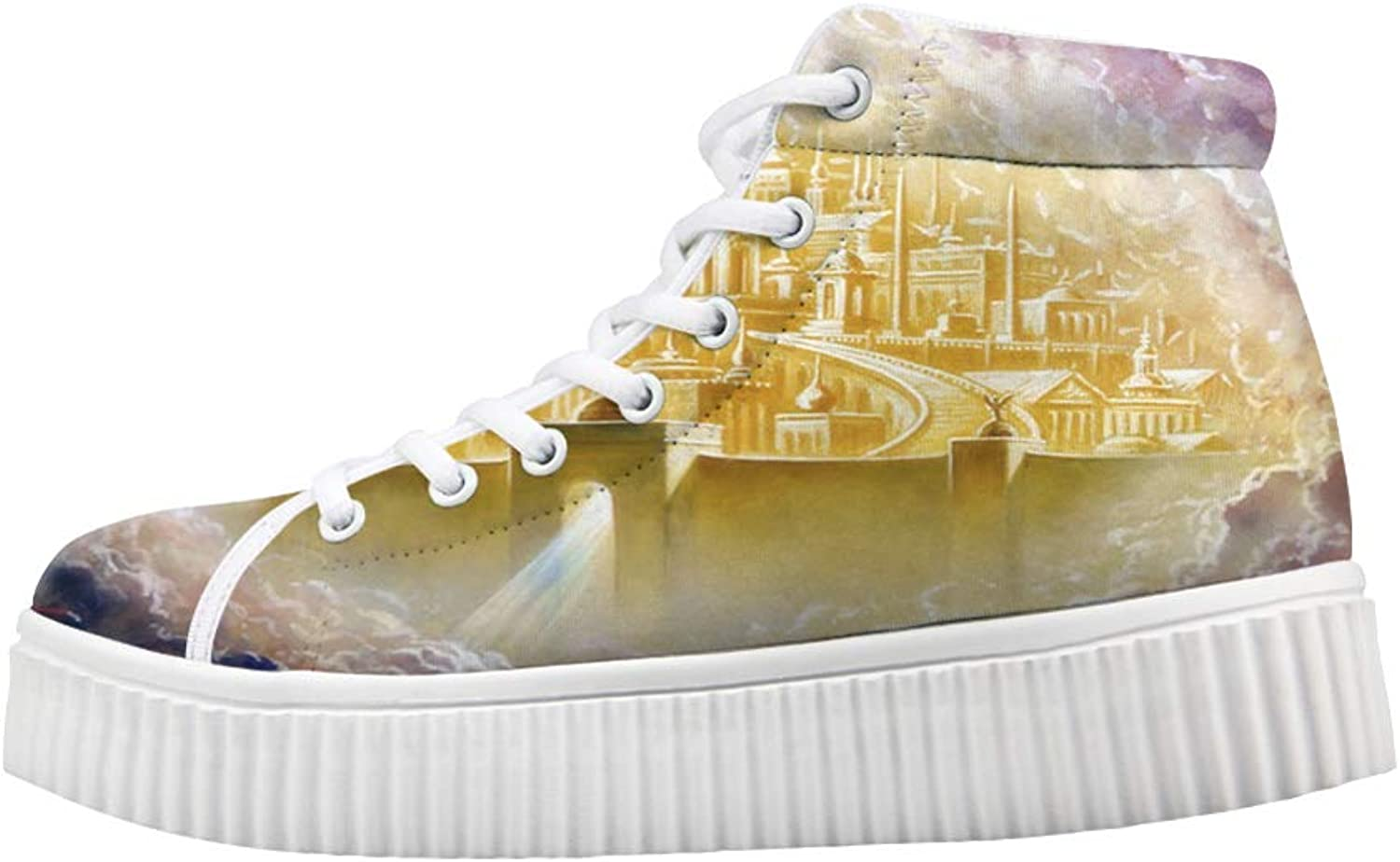 Owaheson Platform Lace up Sneaker Casual Chunky Walking shoes Women Heaven gold Holy City Jerusalem