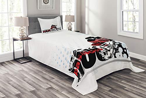 ABAKUHAUS Eishockey Tagesdecke Set, Goalie, der Grafik spielt, Set mit Kissenbezügen Sommerdecke, für Einselbetten 170 x 220 cm, Mehrfarbig