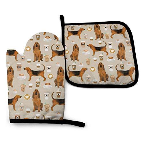 Mxung Bloodhound Hunde und Kaffee Ofenhandschuhe und Topflappen BBQ Home & Kitchen Handschuhe-Ofenhandschuhe rutschfeste Kochhandschuhe Komfortable Hitzebeständigkeit