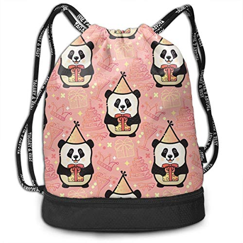 Happy Birthday Panda - Mochila multifuncional unisex con cordón de doble hombro, mochila para escuela, deporte, gimnasio, cierre de cuerda ajustable