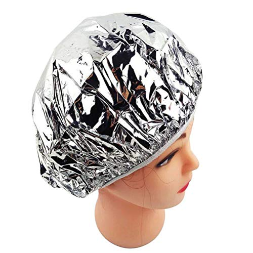 Excras Bonnet de douche pour cheveux à l'huile de cuisson, étanche, anti-poussière, nourrissant, pour salon de beauté, spa ou douche (argent)