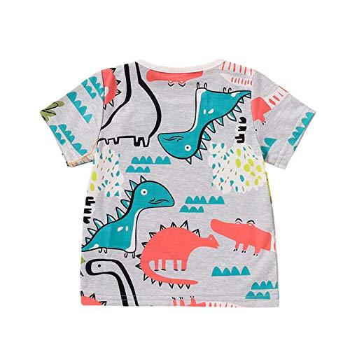 Niños Niños Verano Transpirable Camiseta Creativa Dibujos Animados Dinosaurio Impresión Manga Corta Top Niños Casual Ropa