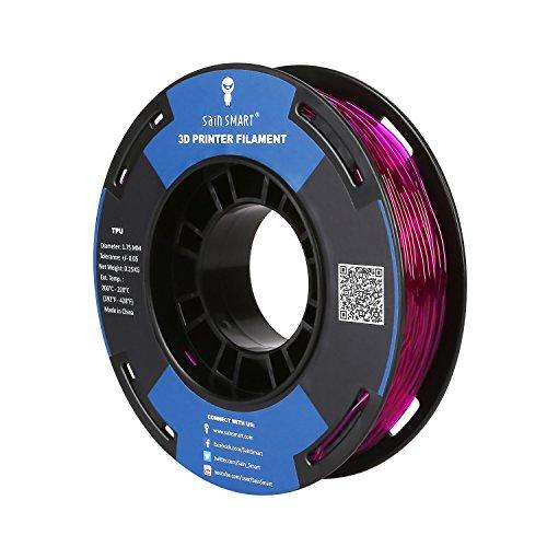 Carrete pequeño SainSmart de 1,75 mm de filamento 3D flexible de TPU de 250 g, precisión dimensional +/- 0,05 mm, Shore 95A, Lila