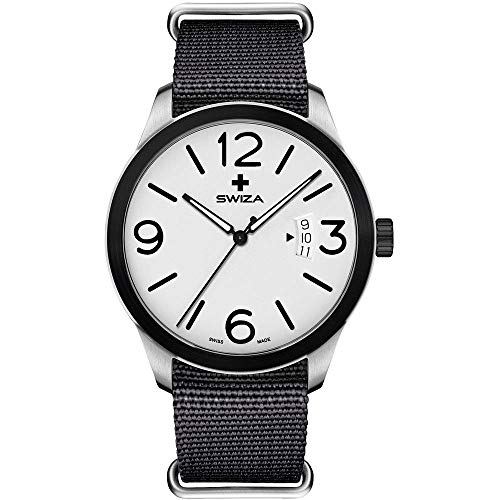 SWIZA Armbanduhr Magnus Black, ETA F07.111 Uhrwerk, 316L, 316L-Lünette, PVD-beschichtet, schwarzes Nylonarmband