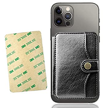 M-Plateau 2021 New Sticky Wallet for Back of Phone,Slim 3M Adhesive Credit Card Holder for Cell Phone.for iPhone 12 & iPhone 12 Pro 6.1 Inches/one Plus 8T/Samsung Galaxy and Most Smartphones  Black
