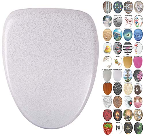 Sanilo Elongated Toilet Seat, Wide Choice of Slow Close Toilet Seats, Molded Wood, Strong Hinges (Glittering White)