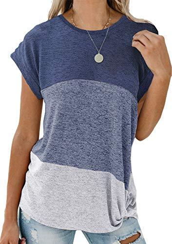 Etyepoh Damen T Shirt Casual Patchwork Sommer Lose Kurzarm Oberteile Asymmetrisch Oversize Bluse Shirt (A-Marine grau, L)
