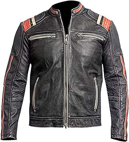 Cafe Racer - Chaqueta de cuero vintage para hombre, estilo antiguo, chaqueta de piel envejecida, chaqueta de cuero para motorista, para hombre