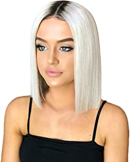 Lace Front Wigs White Red Bob Wig Short Ginger Wig Natural Straight Synthetic Full Wig for Women (a)