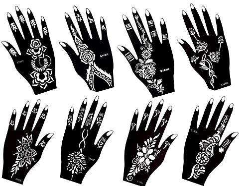 Aktion ! Henna Tattoo Schablone Vorlage 8 Sheet Fleur 8 - Henna Bemalung