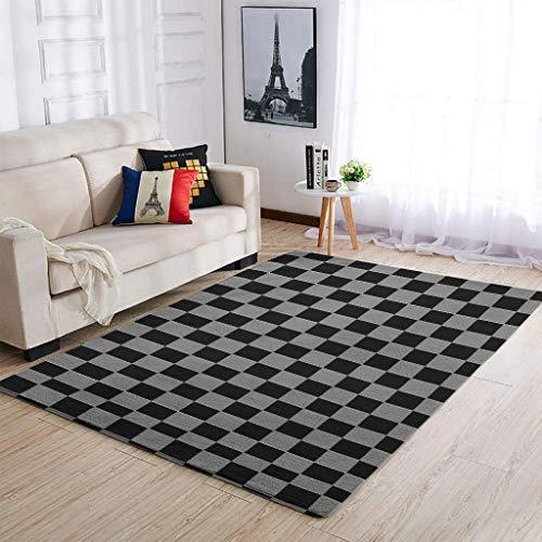 Knowikonwn Alfombra de ajedrez de lujo para decorar alfombras – Divertidas alfombras en blanco y negro para el dormitorio de los niños, blanco 7 91 x 152 cm