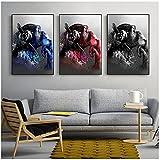 Carteles e impresiones de animales de acuarela modernos abstractos en lienzo arte de pared mono con música auriculares pintura para decoración de habitación