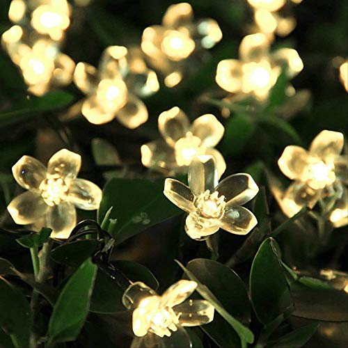 CFLFDC Lichtsnoer, LED-lamp met bruiloftlamp, touw, kersenboom, accu 2,20 m, warm wit licht