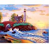 GenericBrands PintarporKitdenúmeros bahía DIY Pintura al óleo Kit con Pinceles Pinturas para Niños Seniors Junior 40*50cm sin Marco