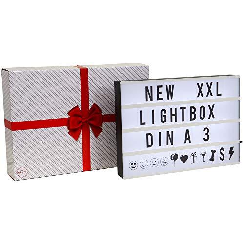 B.K.Licht I LED A3 Lightbox I USB und Batterie I 6.000 Kelvin Tageslichtweiß I 120 Dekobuchstaben in schwarz inkl. Symbole und Emojis I Lichtbox I Letter Box