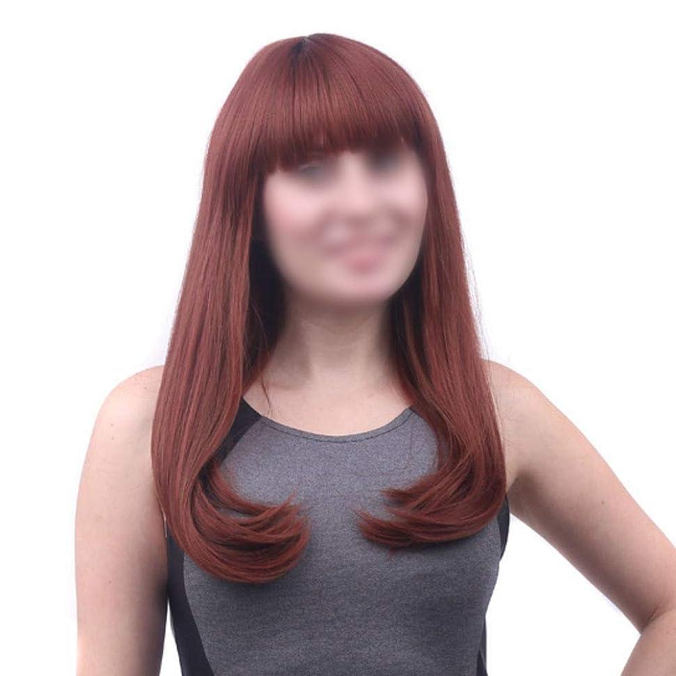 交差点回路口径HOHYLLYA 女性のための前髪ロング絹のようなストレートナチュラルな髪の交換用のかつらパーティー用のかつら (色 : ブラウン, サイズ : 55cm)