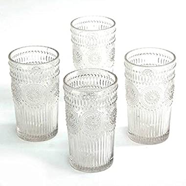 The Pioneer Woman Adeline 16-Ounce Emboss Glass Tumblers, Set of 4, Clear