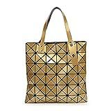 XYAZ Tendencia de moda para mujer bolso de hombro geométrico con costura de cubo de bolso plegable geométrico,dorado