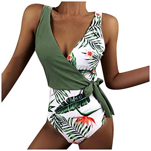 XOXSION Traje de baño para mujer, ajuste de color, espalda descubierta, cuello en V, estampado de flores, traje de baño de una pieza con acolchado en el pecho verde XL