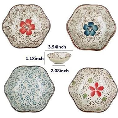 EatingBiting(R)Set of 4 Asian style Flower Shape Sushi Dipping Bowls Appetizer Plates Ceramic flower Shape Porcelain Saucers Bowl Sauce Dishes Handmade ceramic fashion & elegant