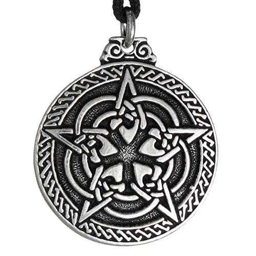 Pewter Celtic Knot Pentacle for Protection Wiccan Necklace Pendant