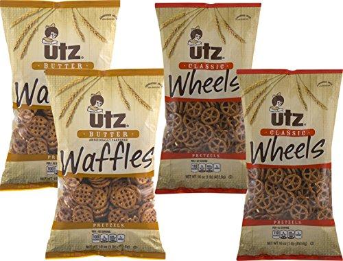 Utz Butter Waffles & Classic Wheels Pretzel Variety 4- Pack