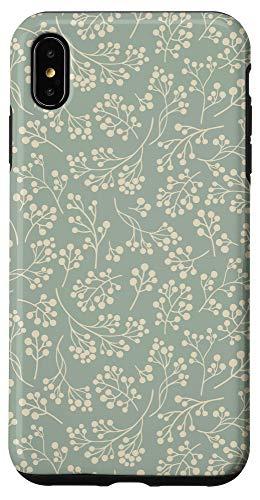 iPhone XS Max Stylish Floral Botanical Sage Green Christmas Greenery Art Case